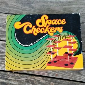 Vintage space checkers board game